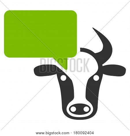 Cow Opinion vector icon. Flat bicolor eco green and gray symbol. Pictogram is isolated on a white background. Designed for web and software interfaces.