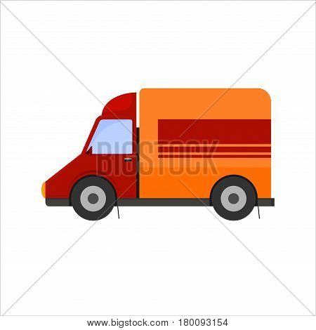 Icon of yellow delivery mini truck Isolated on white background.