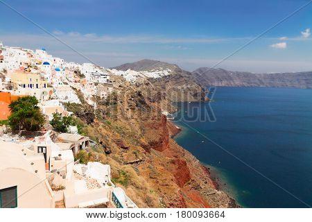 Oia, traditional greek white village and lanscape of caldera of volcano, Santorini, Greece