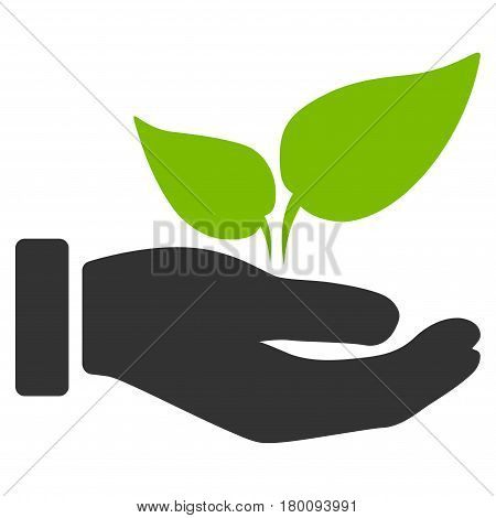 Eco Startup Hand vector icon. Flat bicolor eco green and gray symbol. Pictogram is isolated on a white background. Designed for web and software interfaces.