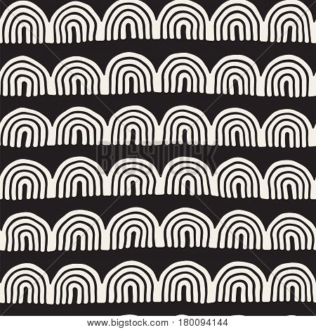 Monochrome minimalistic tribal seamless pattern with arc lines. Vector background with inky black art on white rounded stripe. Stylish abstract design