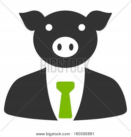 Pig Boss vector icon. Flat bicolor eco green and gray symbol. Pictogram is isolated on a white background. Designed for web and software interfaces.