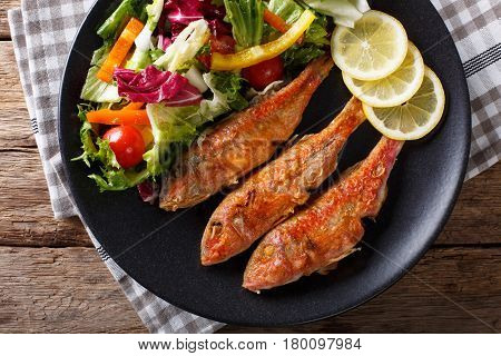 Fried Fish Red Mullet With Fresh Vegetable Salad Close-up. Horizontal Top View
