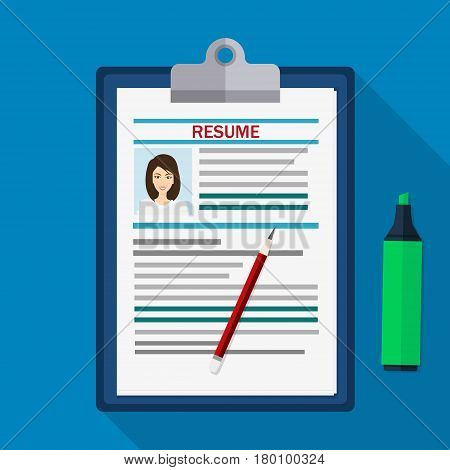 Human resources management concept, searching professional staff, work, analyzing resume, clipboard with resume documents and pen.