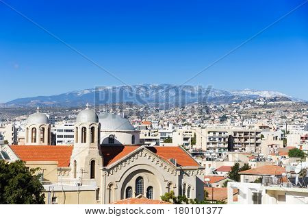 orthodox cathedral. Limassol. Cyprus.  troodos mountain view