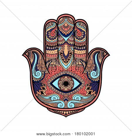 Multicolored Illustration Of A Hamsa Hand Symbol. Hand Of Fatima Religious Sign With All Seeing Eye.
