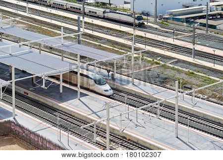 Alicante Spain - March, 31 2017: Alicante railway station. The main national railroad company in Spain is RENFE. Costa Blanca. Spain