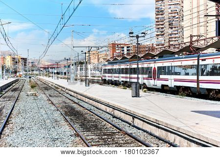 Alicante Spain - March 31 2017: Alicante railway station. The main national railroad company in Spain is RENFE. Costa Blanca. Spain
