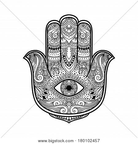 Black And White Illustration Of A Hamsa Hand Symbol. Hand Of Fatima Religious Sign With All Seeing E