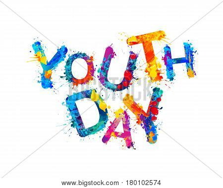 Youth day. Splash watercolor paint vector inscription