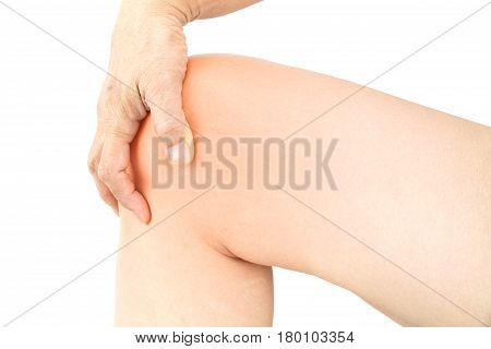 Knee muscle pain white background Knee injury