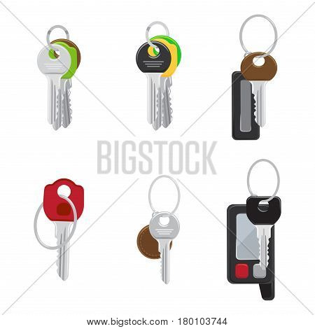 Set of modern door and car keys with trinket on keyring and remote alarm flat vectors isolated on white background. House and vehicle keys illustrations collection for real estate and auto concepts