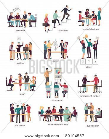 Vector illustration of teamwork leadership, women s business, best idea, startup, victory, report presentation with chart, conclusion of contract, discussion, international business, business plan.