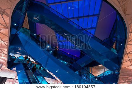 MALMO SWEDEN - MARCH 08 2017: Visitors in Malmo's Emporia Shopping Center the largest shopping mall in Scandinavia. Mall was designed by architect Gert Wingardh's.