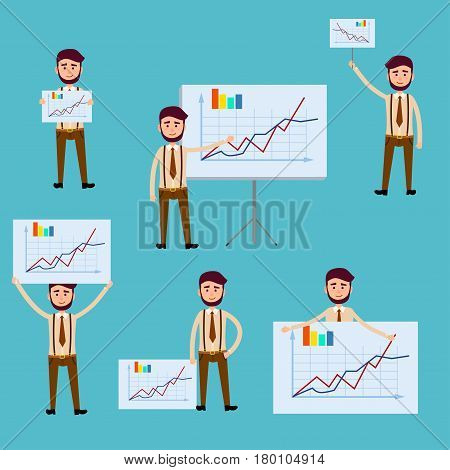 Business concept with man holding posters with diagrams. Vector colorful illustration with azure background of male employee presenting company progress using rising charts with some indications.