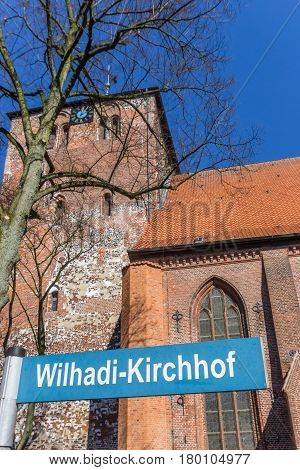 Street Sign In Front Of The Wilhadi Church In Stade