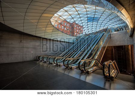 MALMO SWEDEN - MARCH 11 2017: Malmo Triangeln Underground Train Station Opened in December 2010 as a part of the newly built Citytunneln.