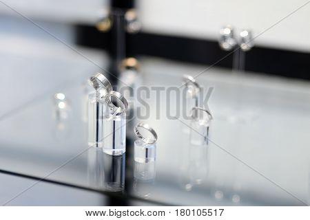 Luxury Wedding Rings In Jeweler Shop