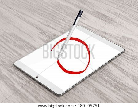 Drawing circle with digital pen on tablet computer, 3D illustration