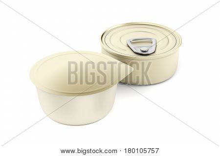 Two different type of tin cans for pate cheese butter or other food, 3D illustration