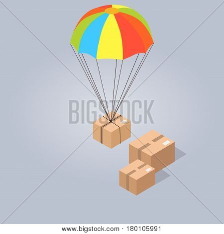 Fast and safe delivery from Internet shop at any point of world. Post box with colorful parachute goes down to other boxes isolated on grey background. E commerce advertising vector illustration.