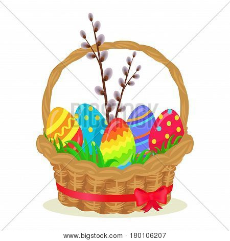 Colorful eggs, brench of willow, green grass in wicker basket isolated on white. Vector illustration of brown pannier with red ribbon on Easter holiday. Festive balls decorated various dots and lines.