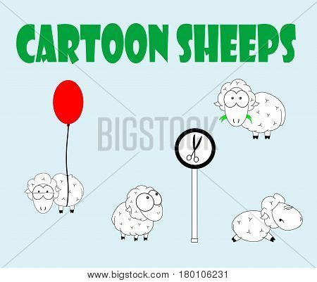 Cartoon set of cute sheeps Standing, running and flying. Vector illustration.
