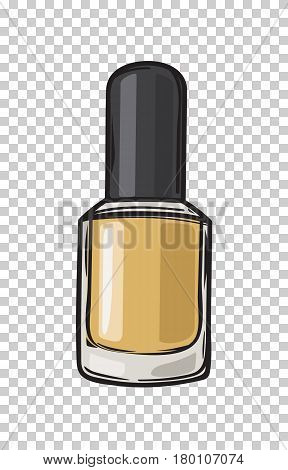 Gold nail varnish in bottle with black lid isolated on transparent background. Fashionable and glamorous nail polish for elegant manicure vector illustration. Modern trendy beauty tool image.