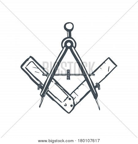 Compass and Square. Mason Sign. Vector illustration