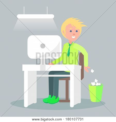 Cartoon male character sits at table with computer screen and throw unnecessary paper into waste bin. Vector illustration of comfortable work process. Man does his job in cozy office in flat style