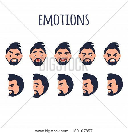 Male facial emotions vector collection on white. Bearded man character with black hair and with happy, angry, surprised, joyful or irritated expressions on face in various positions colorful poster