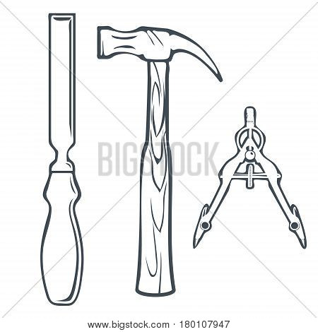 Isolated Hand Tools Chisel, Hummer and Compass. Vector illustration