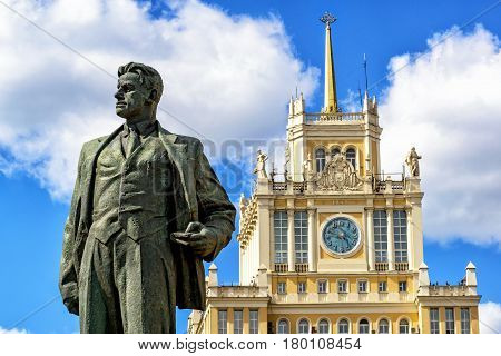 MOSCOW - JUNE 11, 2015: Monument to the Soviet poet Vladimir Mayakovsky and Hotel Beijing on Triumph Square. The monument was erected in 1958.