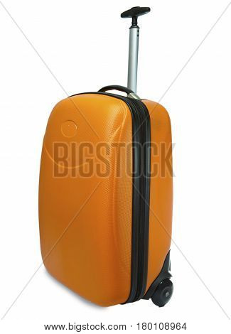 Orange suitcase for travel on a white background