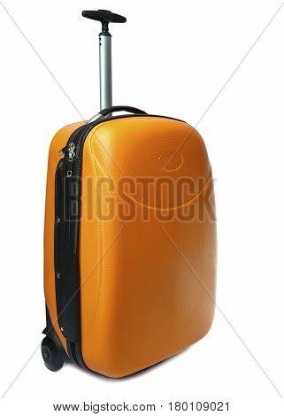Orange suitcase .Close up on a white background