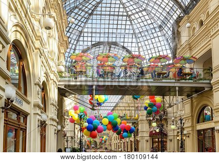 MOSCOW - JULY 10, 2015: Inside the GUM (main department store). GUM is located on the Red Square and is one of the oldest supermarkets in Moscow.