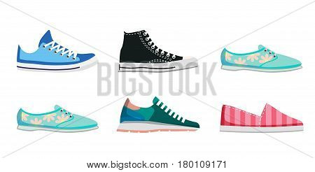 Comfortable flat shoes collection isolated on white background. high and low keds, run sneaker, loafers with flowers and striped slip-on vector illustration. Women footwear for sport and casual look.