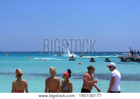 Cyprus Ayia Napa - May 2 2016 : View of the sea and man on flyboard
