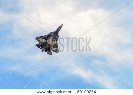 MOSCOW REGION - AUGUST 28, 2015: New Russian fifth-generation fighter T-50 (Sukhoi PAK FA) at the International Aviation and Space Salon (MAKS).