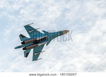 MOSCOW REGION - AUGUST 28, 2015: New Russian strike fighter Sukhoi Su-34