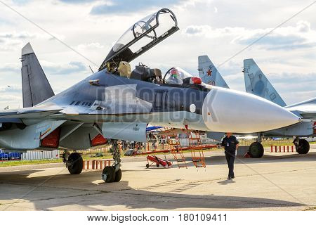 MOSCOW REGION - AUGUST 28, 2015: Russian multirole fighter Sukhoi Su-30