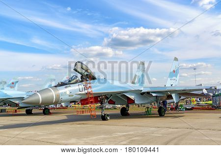 MOSCOW REGION - AUGUST 28, 2015: New Russian strike fighter Sukhoi Su-35
