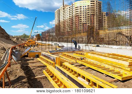 MOSCOW - APRIL 24: Construction site on april 24, 2014 in Moscow, Russia. Urban construction is at a faster pace in Russia.