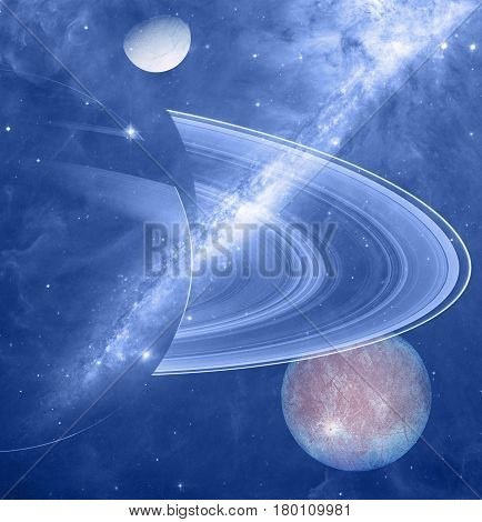 Planets, stars and Milky way wonders in cosmos. 3D render / illustration.