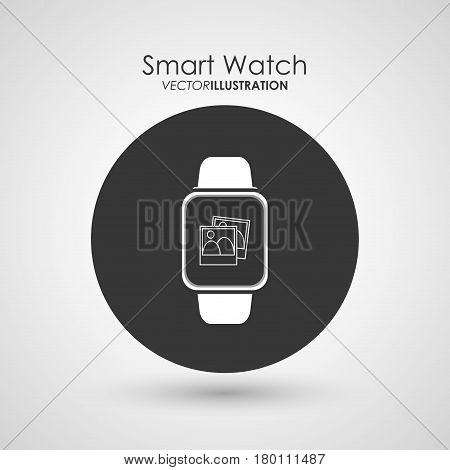 Wearable technology concept represented by watch icon. Colorfull and flat illustration. White background