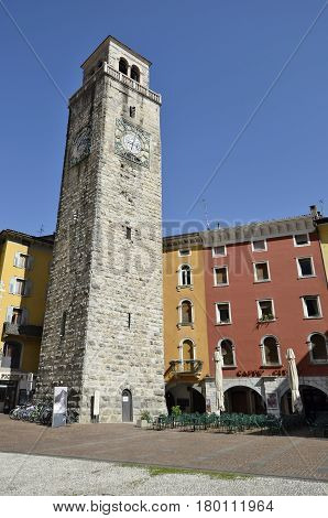 Riva del Garda Italy - March 28 2017: Apponale tower in sunny day in early spring