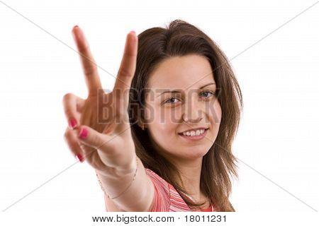 Woman Making Victory