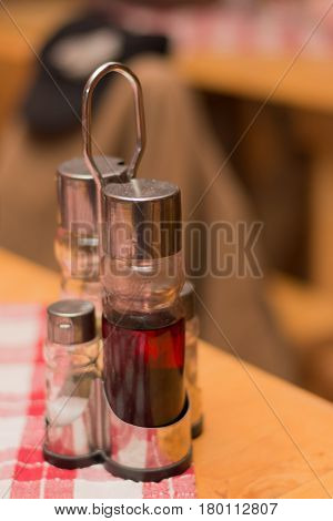 Vinegar And Oil On The Tavern Table