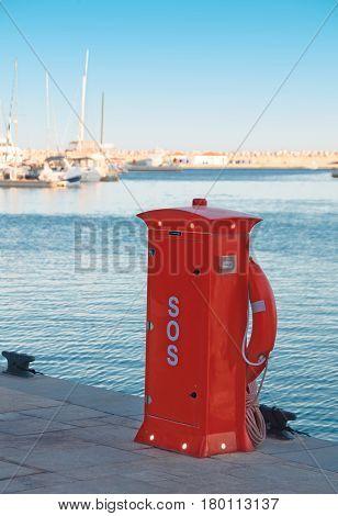 Red Lifeguard box in Limassol Marina Cyprus