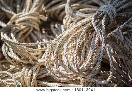 Old white-red rope closeup Twisted thick rope